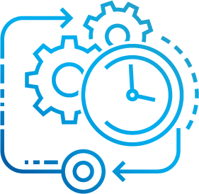 Gears and a clock icon representing Software Development Solutions