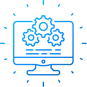 Computer Screen with Gears to represent Software Development